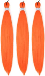 Orange Braiding Hair Pre Stretched Kanekalon Prestretched Braiding Hair