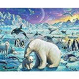 ksyklys DIY Pintura Al Óleo Digital Oso Blanco sobre Hielo Digital Pintura Al Óleo Regalo para Adultos Niños Pintura por Numero Kits Decoración del Hogar 40 * 50