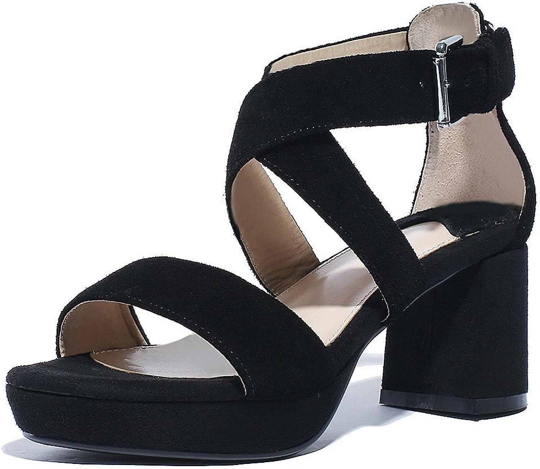 WeenFashion Women's Solid Soft Material Kitten-Heels Buckle Open Toe Sandals