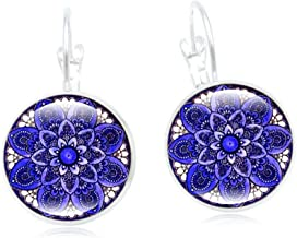 Hot 12 Style Warm Mandala Earrings Bohemian Hearing Art Glass Dome Cabochon Metallic Plated Lever Back Drop Earrings for Ladies Jewelry