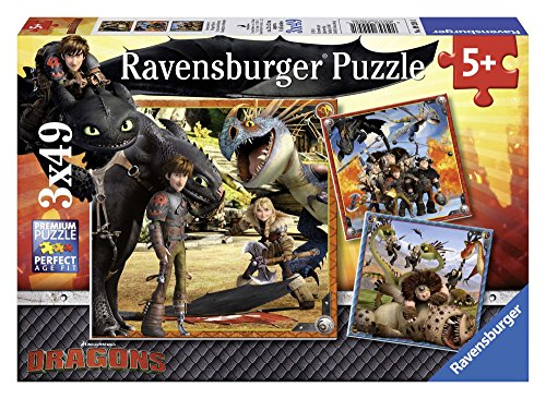 Ravensburger Kinderpuzzle 09258 - Drachenreiter - 3 x 49 Teile
