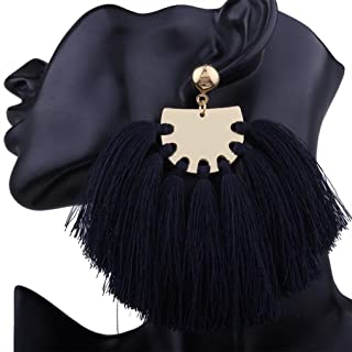 DZT1968 Women girl Bohemian Handmade Tassel Fringe Dangle Stud Earrings Jewelry (Black)