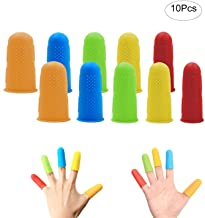 Finger Protector Hot Glue Gun Finger Caps Silicone Finger Guards|Finger Tips|Finger Sleeves for Cracked Fingers,Non-Stick Finger Cover for Sewing,Wax,Resin,Adhesive and Scrapbooking,3 Sizes,10-Pack