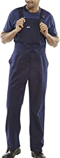 FashioN HuB Mens Cotton Drill Bib and Brace Overall Adult Painter Work Wear Coverall Dungarees