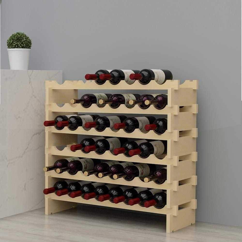SH-BY-WS4832M SogesHome Estante de vino modular apilable de 4 niveles y 32 botellas Estante de exhibici/ón de vino de madera estante de almacenamiento de vino independiente y sobre encimera