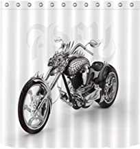 Royare Shower Curtain White Polyester Cool Motorcycle Waterproof Shower Curtain Bathroom Products Bath Curtain (Size : 180...