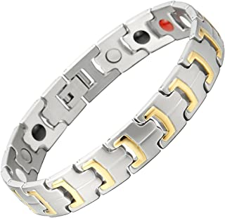 COOLSTEELANDBEYOND Therapeutic Mens Steel Magnetic Link Bracelet with Strong Magnets Germanium, Free Link Removal Kit