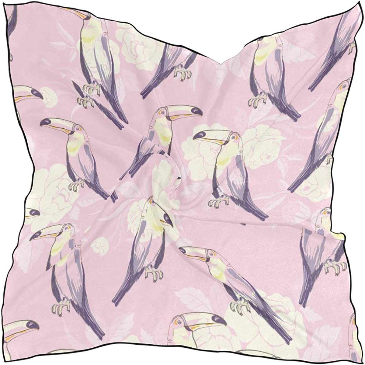Women's Soft Polyester Silk Square Scarf Macaw And Toucan Exotic Wild Animals Perched In Tropical Rainforest Fashion Print Head & Hair Scarf Neckerchief Accessory-23.6x23.6 Inch