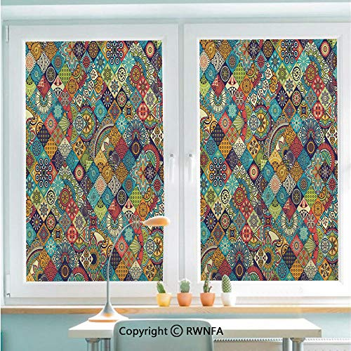 "Decorative Window Films Kitchen Glass Sticker Checkered Pattern with Ethnic Ornamental Floral Figures Ethnic Folk Art Abstract Decorative Waterproof Anti-UV for Home and Office 22.8"" x 35.4"",Multicol"