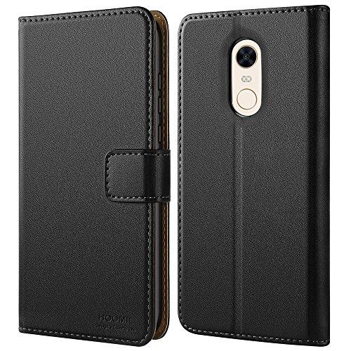 HOOMIL Xiaomi Redmi 5 Plus Hülle Leder Flip Hülle Handyhülle für Xiaomi Redmi 5 Plus Tasche Brieftasche Schutzhülle - Schwarz (H3273)