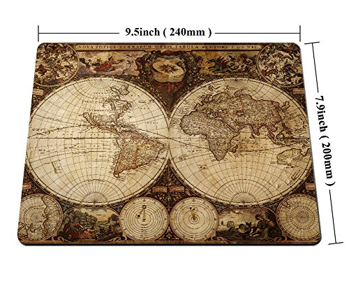 Smooffly Vintage World Map Mouse pad , Image of Old Map in 1720s Nostalgic Style Art Historical Atlas Mouse Pad,Brown Beige Photo #6