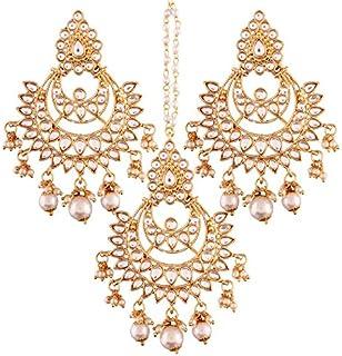 I Jewels Gold Plated Kundan & Pearl Earring Set with Maang Tikka for Women (TE2498W)