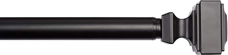 AmazonBasics 1 Wall Curtain Rod With Square Finials 72 To 144 Black