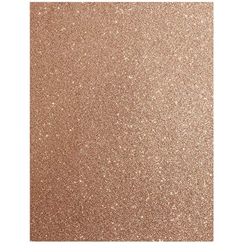 Rose Gold Glitter Cardstock Paper Sheets (11 x 8.5 Inches, 24-Pack)