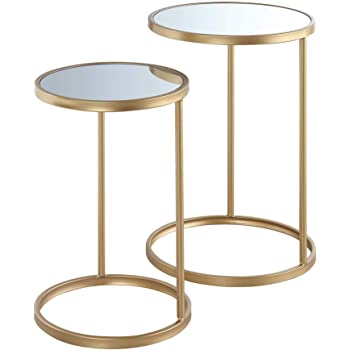 Convenience Concepts Gold Coast Mirrored Nesting End Tables, Mirror / Gold