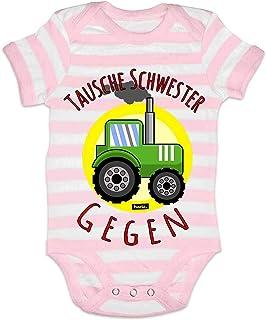 HARIZ HARIZ Baby Body Streifen Tausche Schwester Gegen Traktor Fahrzeuge Traktor Inkl. Geschenk Karte Rosa/Weiß 0-3 Monate