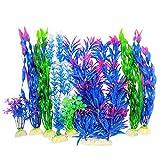 Otterly Pets Plantas de plástico para decoración de peceras, decoración de acuario y accesorios, 8 unidades