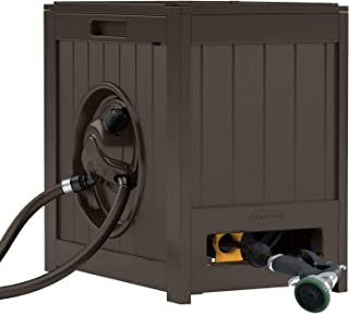 Suncast Aquawinder 125' Garden Hose Reel - Lightweight Portable Hands - Free Water Powered Retractable Hose Reel - Brown