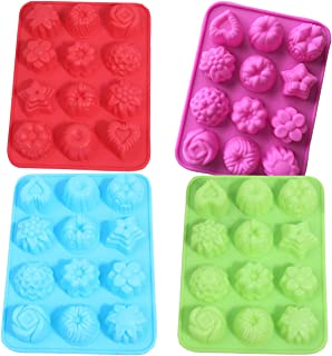 12 Cavity Silicone Flower Mold for Soap Muffin Cupcake Bread Chocolate Jelly-Non stick and Reusable Mould Pan Set,Mixed Color 4PCS