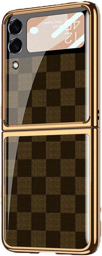 XNDD for Samsung Galaxy Z Flip 3 5G Slim Folding Plaid PU Leather Phone Case Cover (Brown-A)