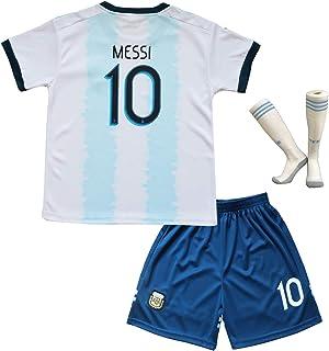 8db7b1aa1be8b Argentine #10 Lionel Messi. Maillot et Short de Football Domicile Ensemble  pour Garçon Enfants