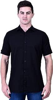Narsinh Enterprises Formal Classic Collar Casual Half Sleeve Shirts Black