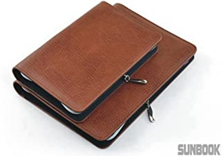 PU Leather Business Zippered 6-ring Padfolio Portfolio with Calculator and Writing Pad,Pagefinder Ruler,Clear PVC Card Bag include (Brown, A6)