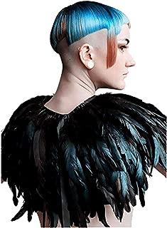 Fashion Feather Cape Stole Black Shrug Shawl Poncho Iridescent
