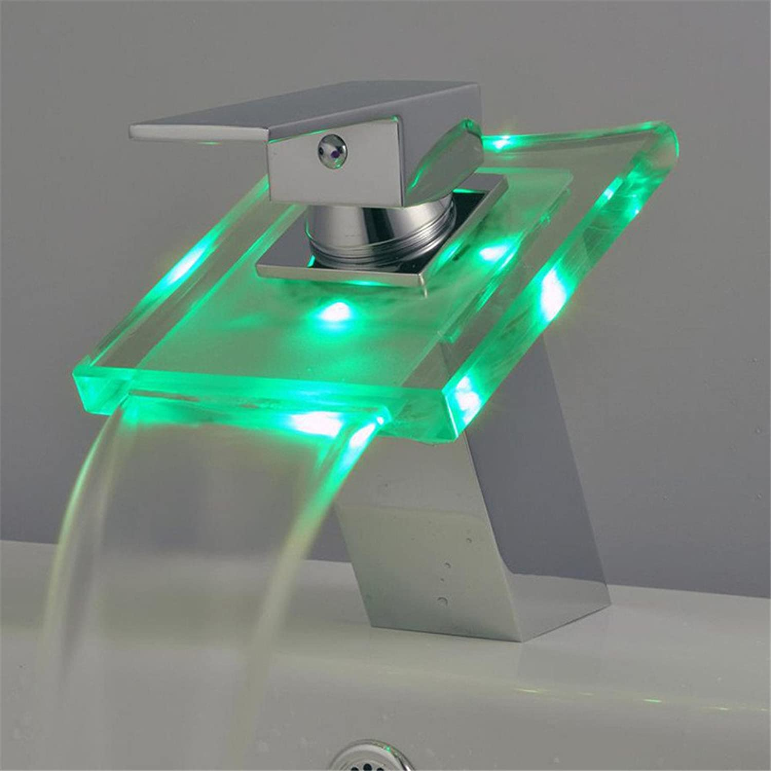 Decorry Lift-Up Basin Faucet Classical Fashion Glazing Thermostat Faucet Led Lights
