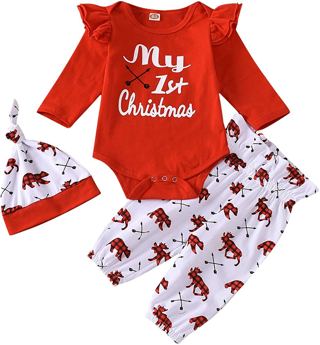 Baby Girl First Christmas Outfit Long Sleeve My 1st Christmas Romper Ruffle Pants Hat Set Christmas 3PCS Clothes Set
