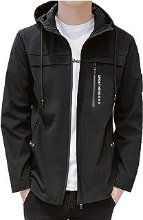 OKJCON ジャケット メンズ 春秋冬 コート シンプル ブルゾン 無地 防風 フード付き カジュアル おおきいサイズ