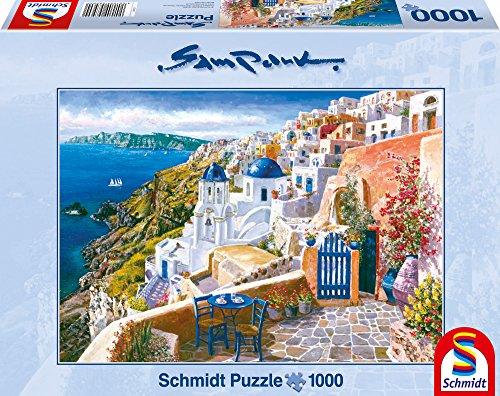 Schmidt Spiele 58560 Sam Park: Santorini, Grecia- Puzzle da 1.000 pezzi