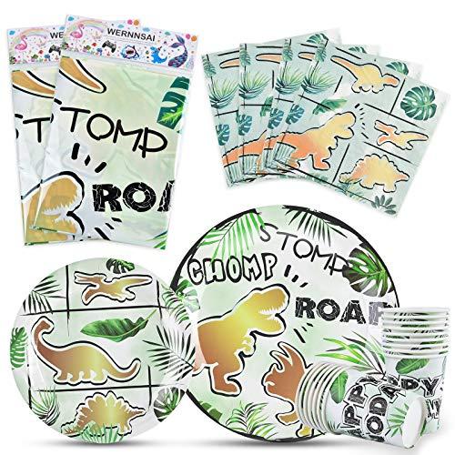 WERNNSAI Pack de Fournitures pour la Fête des Dinosaures - Vaisselle de Fête de Dinosaures pour Les Garçons Assiettes à Dîner Serviettes Tasses Nappe Our 16 Convives 66 PCS