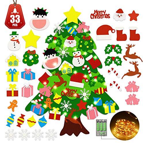 TELEIYA Albero di Natale in Feltro Decorazione 33 Ornamenti Staccabili 5M 50 LEDs Catena Luminosa, DIY Regalo Christmas per Bambini Parete Porte Finestre Feste, 3.3 ft