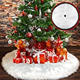 BLAZOR Baumdecke Weihnachtsbaum Decke, 122cm Weihnachtsbaumdecke Runde Form Schneeflocke Weiß Plüsch Christbaumständer Teppich für