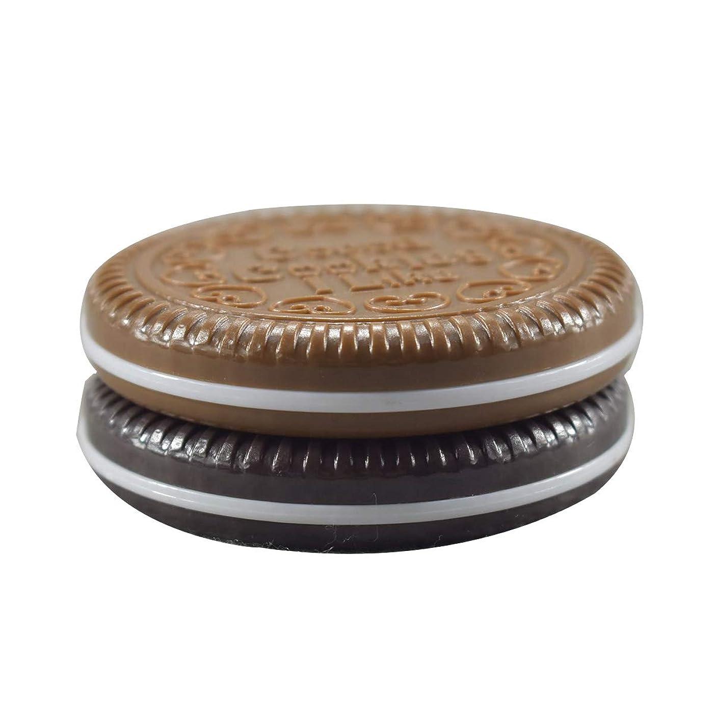 Frcolor 化粧鏡 携帯ミラー 折りたたみミラー 化粧ミラー コンパクトミラー 丸型 持ち運びに便利 チョコレートクッキー柄 コーム付き(ランダムカラー)