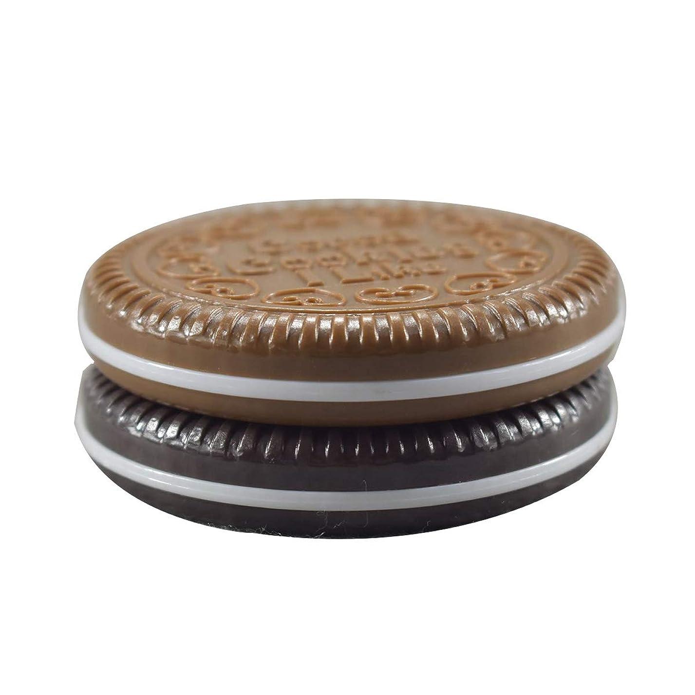 晩ごはん干渉繁栄Frcolor 化粧鏡 携帯ミラー 折りたたみミラー 化粧ミラー コンパクトミラー 丸型 持ち運びに便利 チョコレートクッキー柄 コーム付き(ランダムカラー)