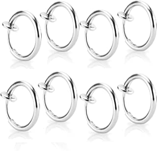 CrazyPiercing 8 pcs of Surgical Steel Clip on Non-pierced Hoops Fake Nose Lip Ear Rings Piercing