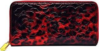 Flower Print Collection Genuine Patent PU Leather Zip Around Women's Wallet Purse Card Holder