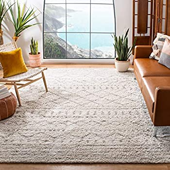 SAFAVIEH Arizona Shag Collection ASG741A Moroccan Non-Shedding Living Room Bedroom Dining Room Entryway Plush 1.6-inch Thick Area Rug 8  x 10  Ivory / Beige