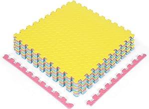 COSTWAY EVA oefen vloermatten met rand (12-delige/ 63 x 63 x 1,2cm/ totaal 4,76㎡), in elkaar grijpende zachte schuim besch...
