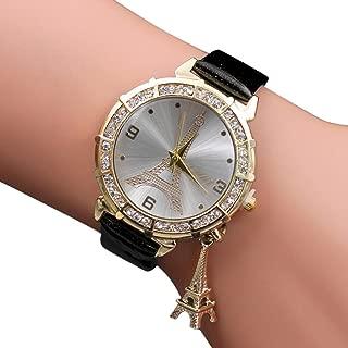 Women Elegant Quartz Watches Fashion Eiffel Tower Rhinestone Wrist Watches with Pendant (Black)