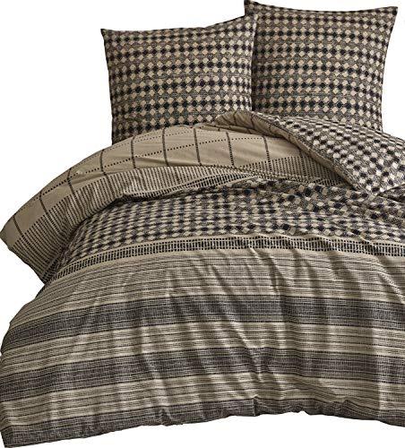 Leonado Vicenti - Bettwäsche-Set 100% Baumwolle Renforce schwarz beige gestreift Schlafzimmer Set Größe wählbar, Größe:135 x 200 cm