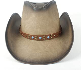 Xiang Ye Retro Unisex Womem Men Western Cowboy Hat Wide Brim Hat With Punk Band Leather Sombrero Cowgirl Hat