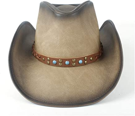 2019 Women Womens Unisex Vintage Western Cowboy for WomenWide Brim Hat with Punk Band Leather Sombrero Cowgirl Hat Casual Fashion Practical Summer Lightweight (Color : Tan, Size : 58-59)