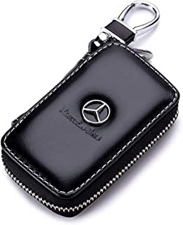 Gaocar Auto Parts Car Key case for Mercedes-Benz,Genuine Leather Car Smart Key Chain Keychain Holder Metal Hook and Keyring Zipper Bag for Remote Key Fob - Black (for Mercedes-Benz)