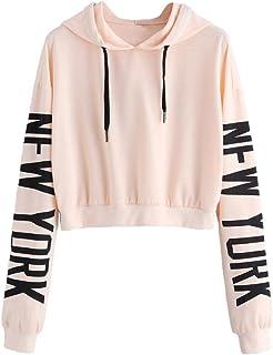 239268b22fdcb Sweatshirt Femme Imprimé, LMMVP Femmes Sweat à Capuche Des Lettres Pullover  Sweat-shirt Chemisier