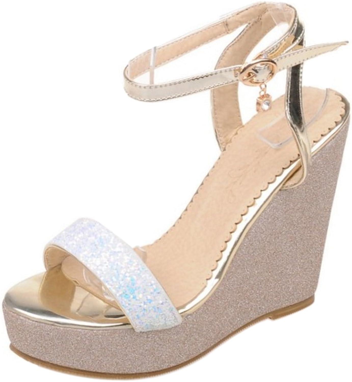 RizaBina Women Wedge Heel Sandals Ankle Strap