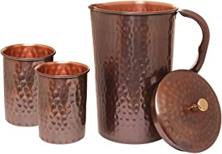 AVADOR Handcrafted 100% Pure Copper Antique Finish Jug Pitcher with 2 Antique Glass Drinkware Hammered Finish Ayurveda Health Benefit