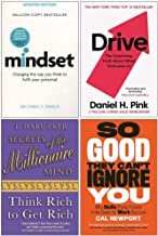 Mindset Carol Dweck, Drive Daniel H. Pink, Secrets of the Millionaire Mind, So Good They Can't Ignore You 4 Books Collection Set